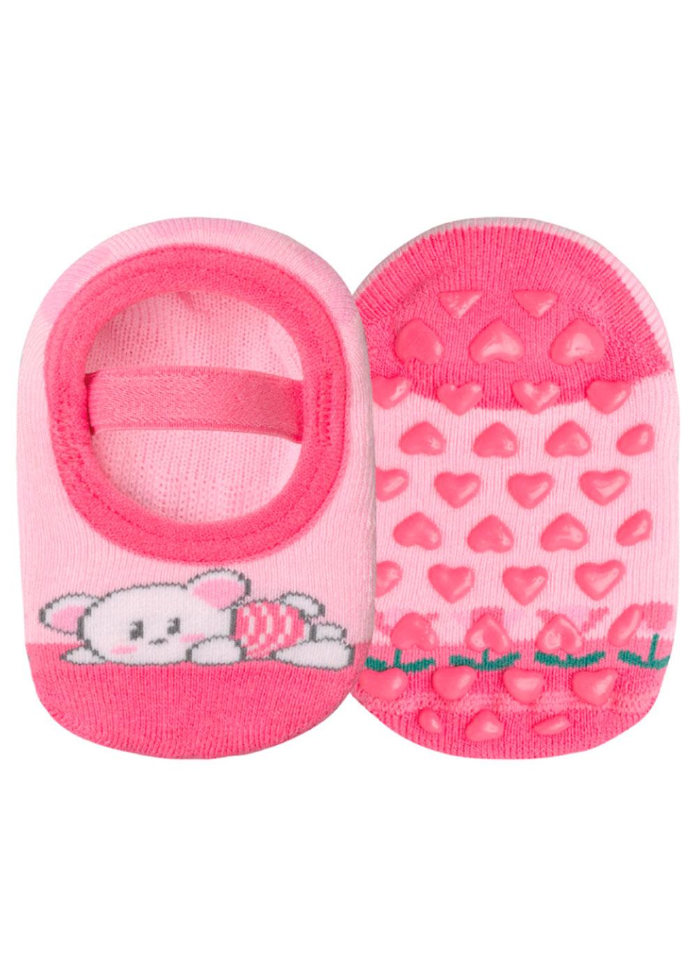 Meia Antiderrapante Infantil Rosa Bear Lupo