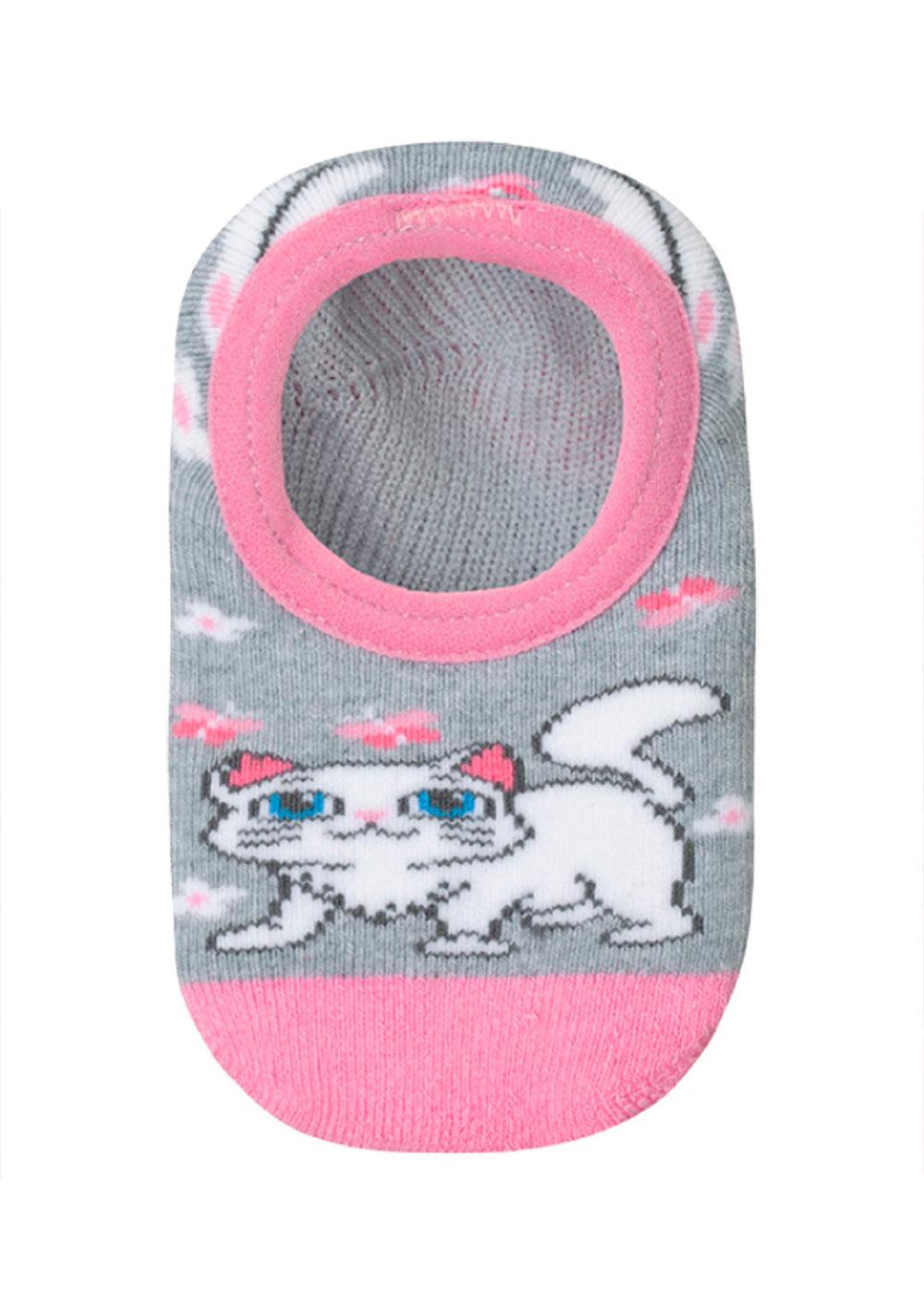 Meia Antiderrapante Infantil Rosa Cute Cat Lupo