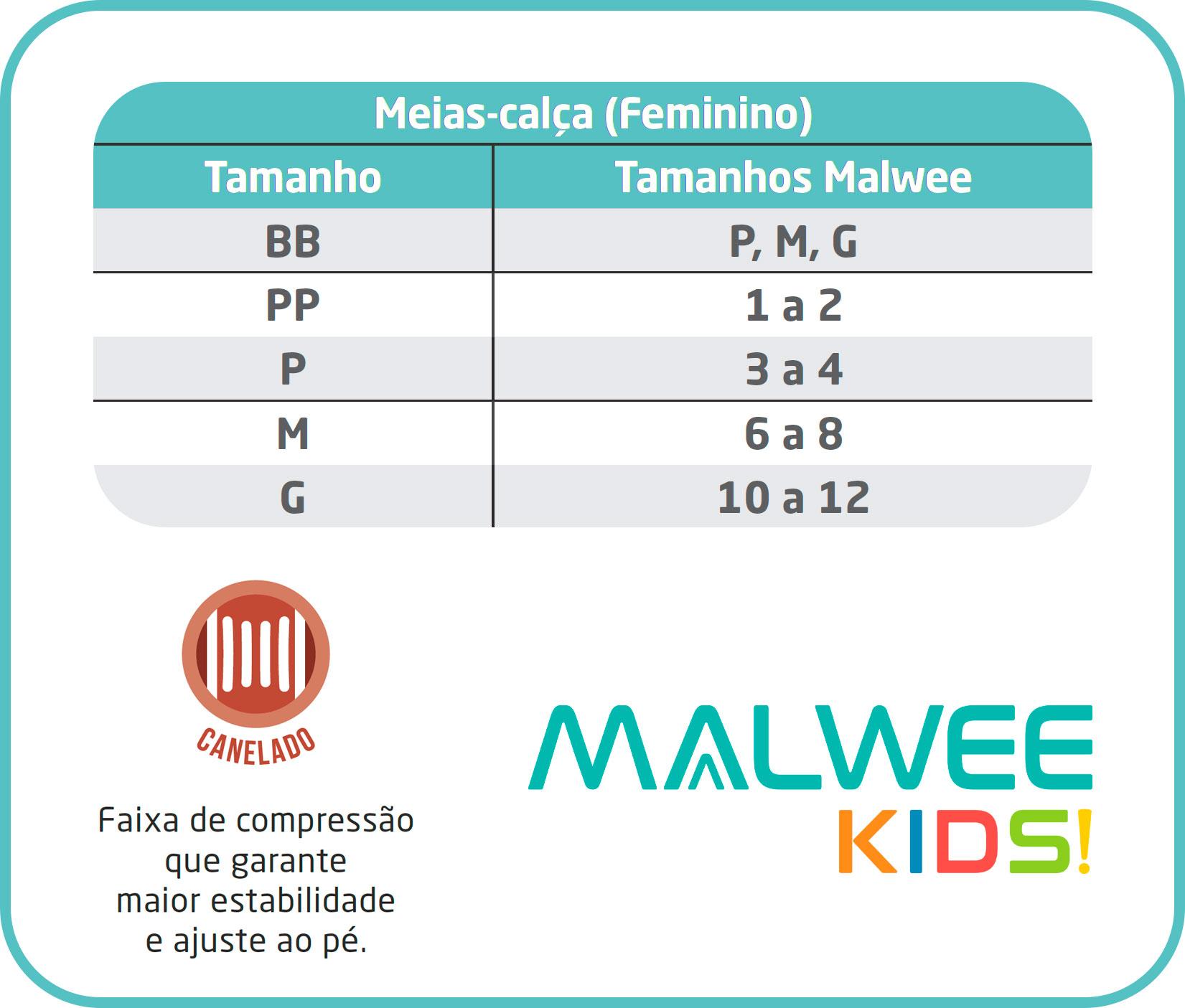 Meia Calça Infantil Branca Canelada Fio 80 - Malwee