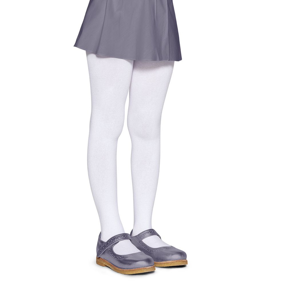 Meia Calça Infantil Fio 80 Branca Algodão Lupo