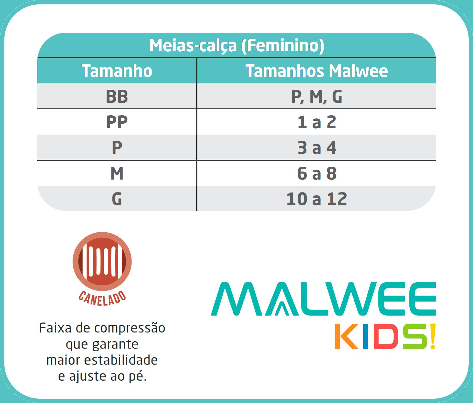 Meia Calça Infantil Preta Canelada Fio 80 - Malwee