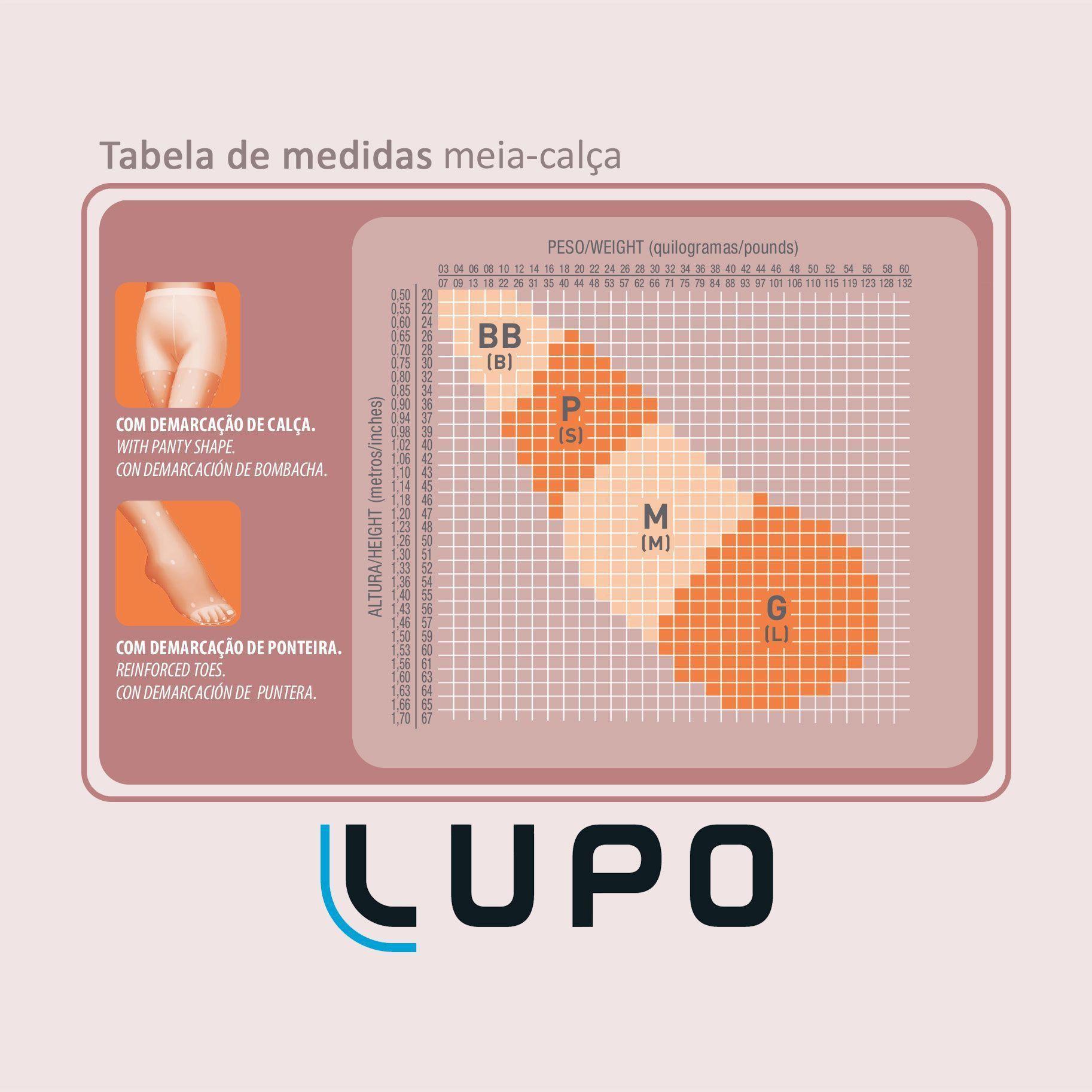 Meia Calça Infantil Rosa Fio 20 Lupo: Tabela de medidas