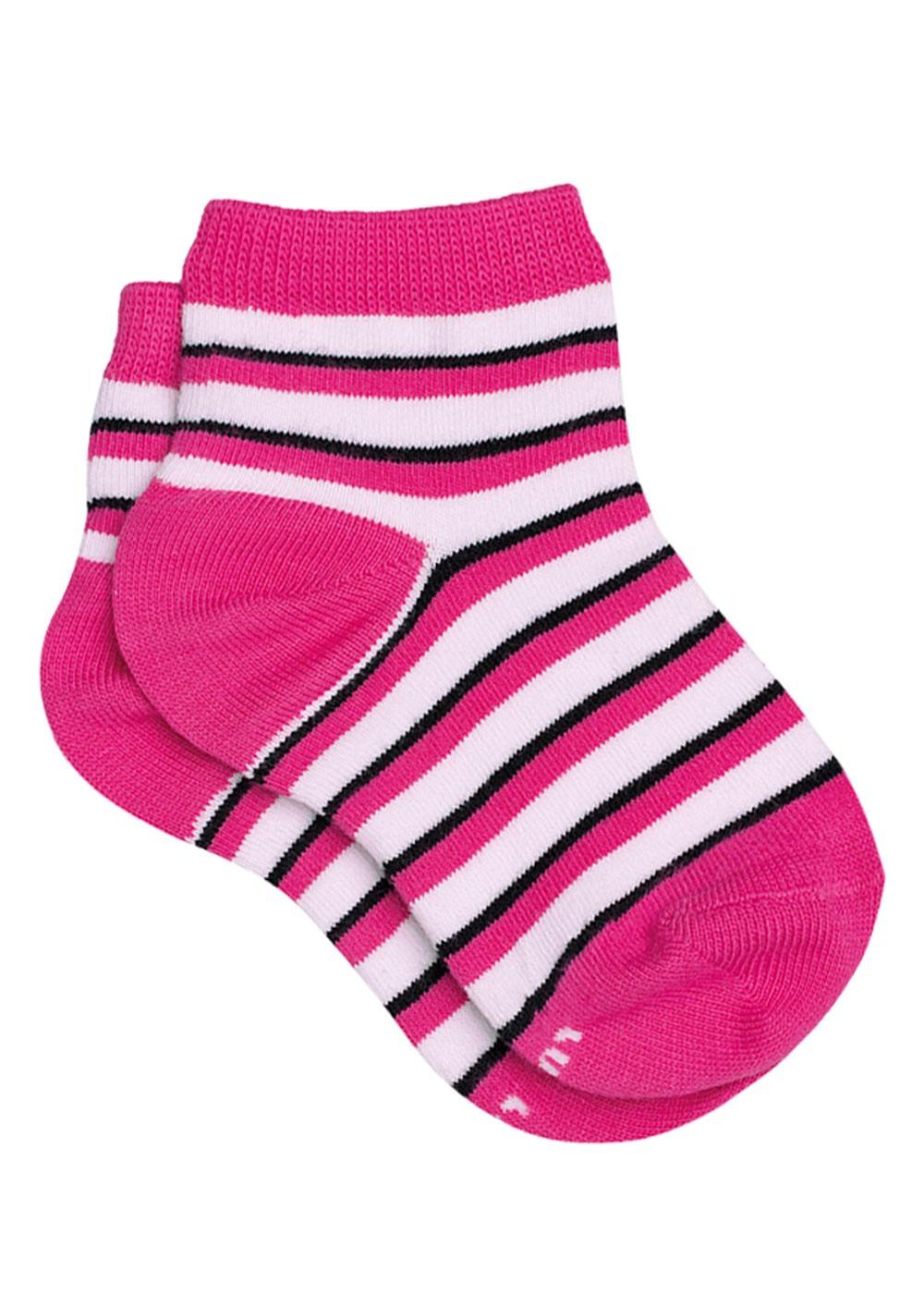 Meia com Cano Infantil Feminina Kit 3 Pink Listrada Lupo