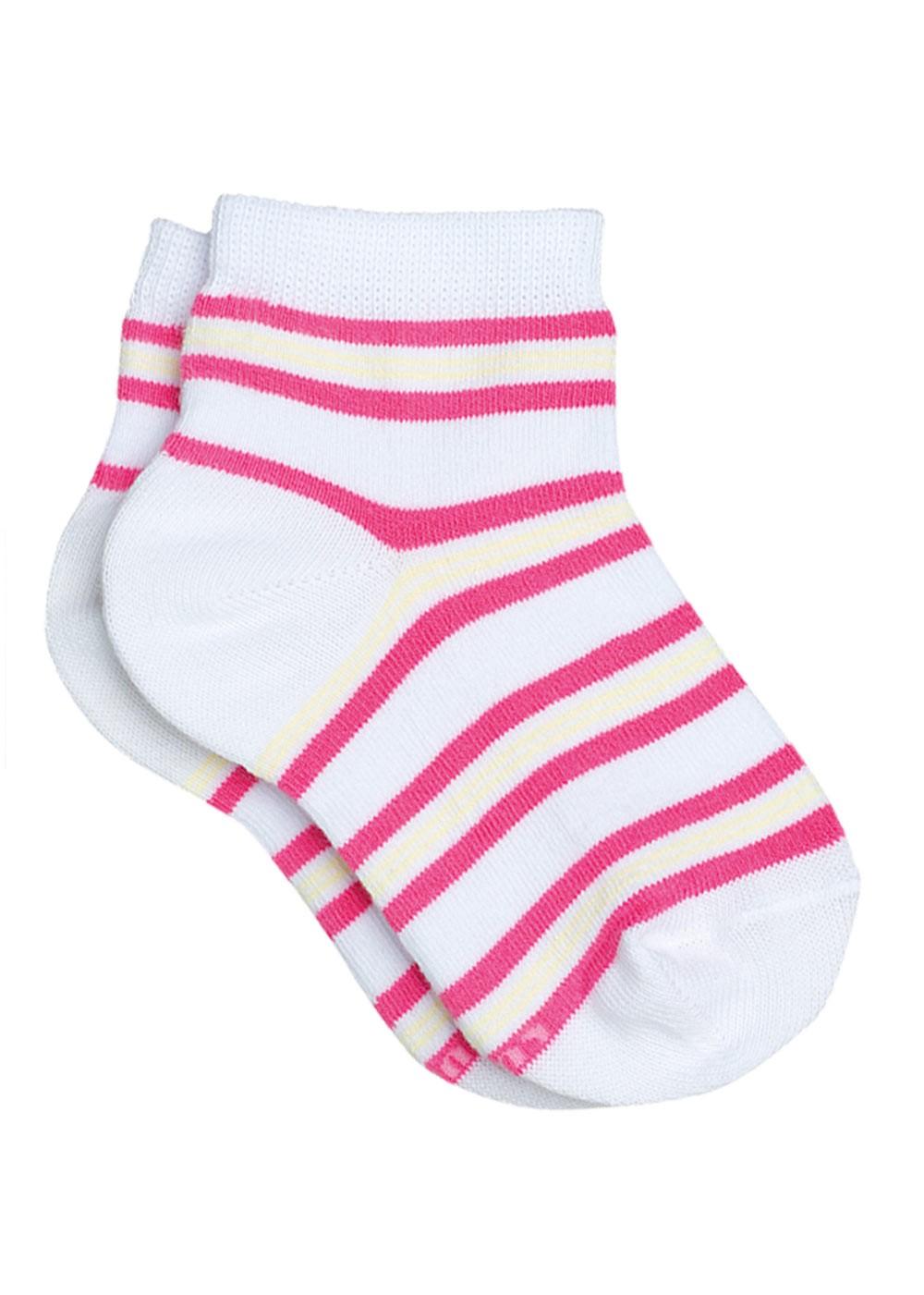 Meia com Cano Infantil Feminina Kit 3 Rosa Listrada Lupo