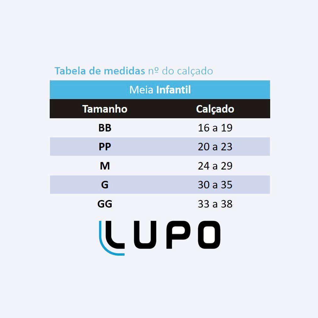 Meia com Cano Infantil Preta Kit 9 Pares Lupo: Tabela de medidas
