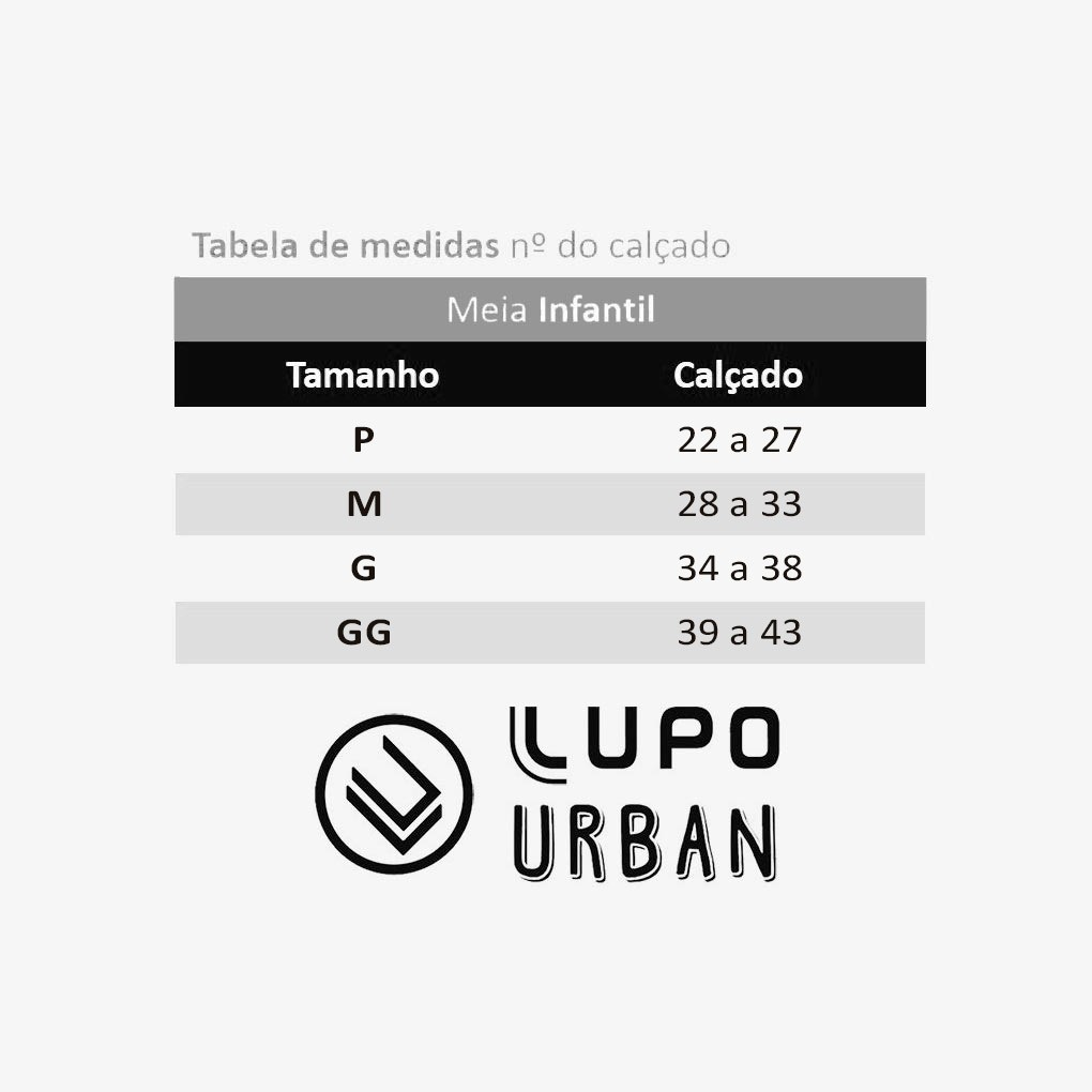 Meia Divertida Cano Alto Unicórnio Lupo Urban: Tabela de medidas