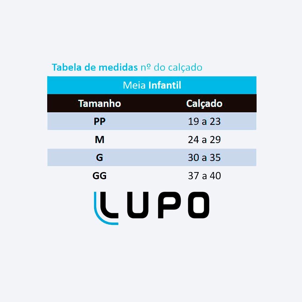 Meia Infantil Antiderrapante Rosa Lupo: Tabela de medidas
