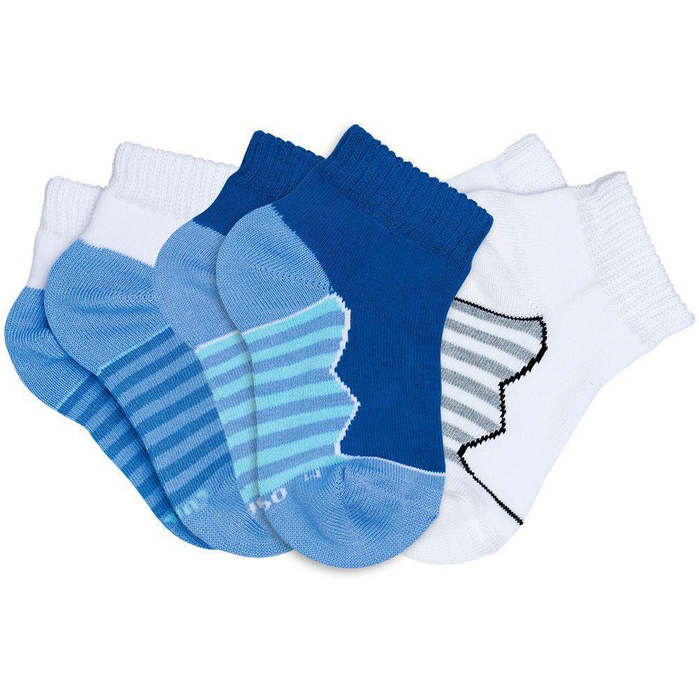 Meia Infantil Masculina kit 3 Azul Royal Listras Lupo
