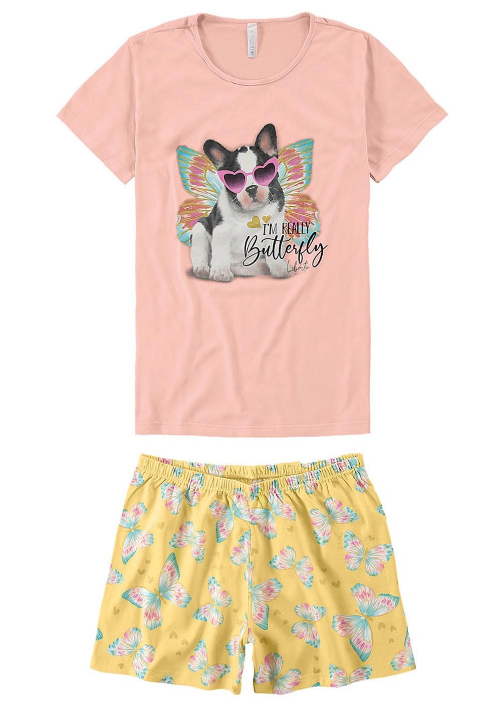Pijama Feminino Mãe e Filha Rosa Estampa Cachorro - Malwee