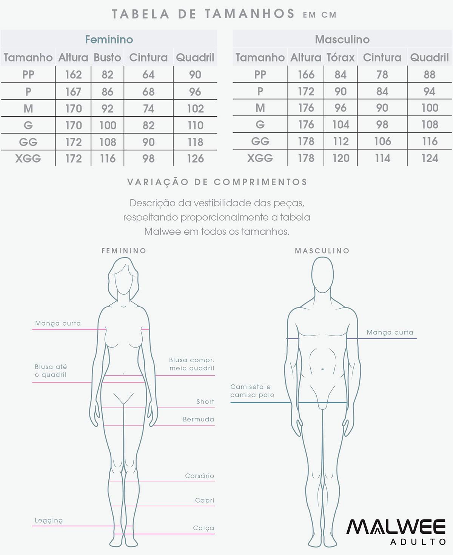 Pijama Feminino Verão Rosa Ice Cream Malwee: Tabela de medidas