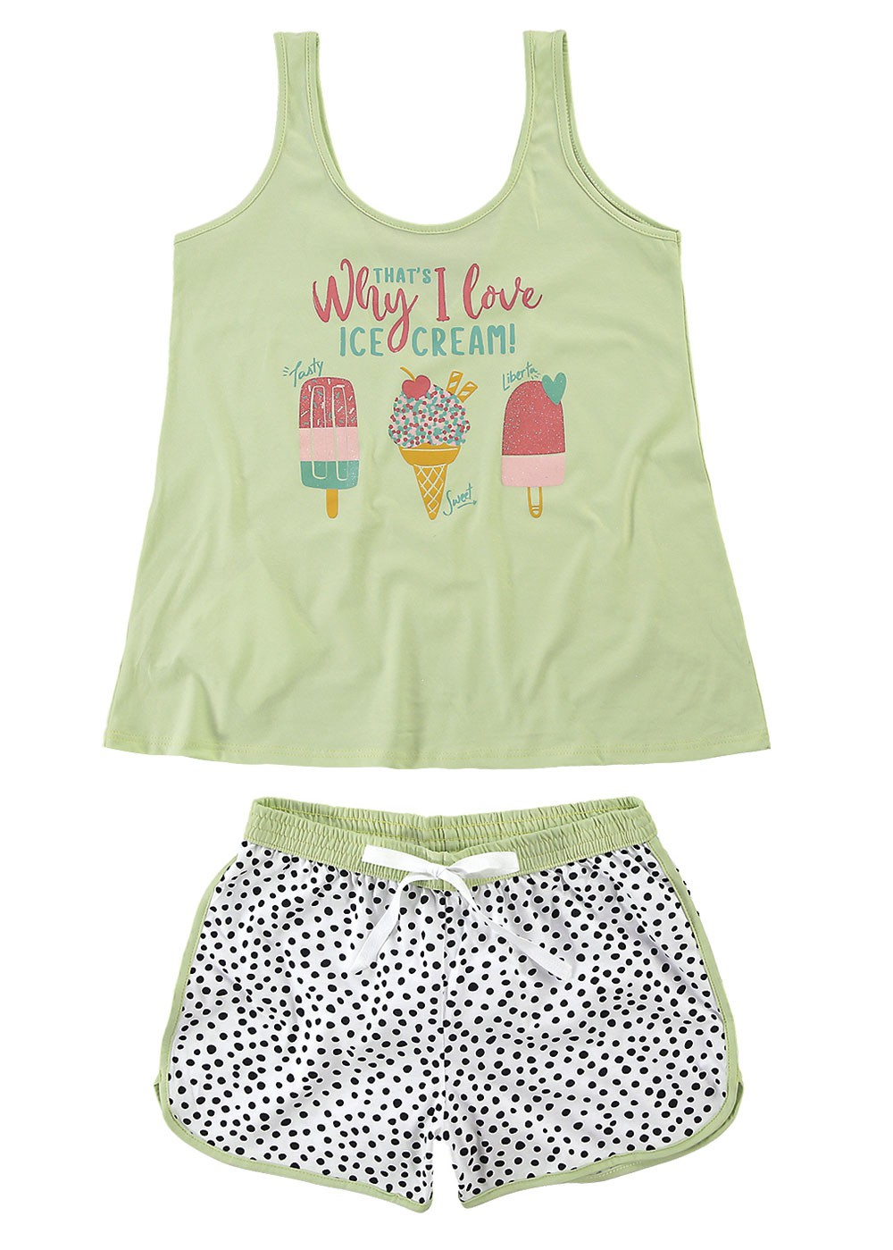 Pijama Feminino Verão Verde Ice Cream Malwee