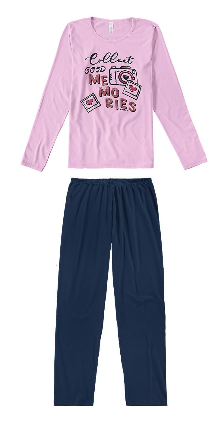 Pijama ADULTO Feminino Inverno Rosa Memories Malwee