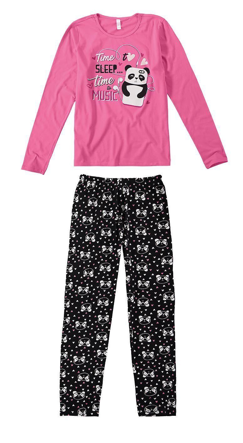 bcfce1655 Pijama ADULTO Feminino Inverno Rosa Time Sleep Malwee