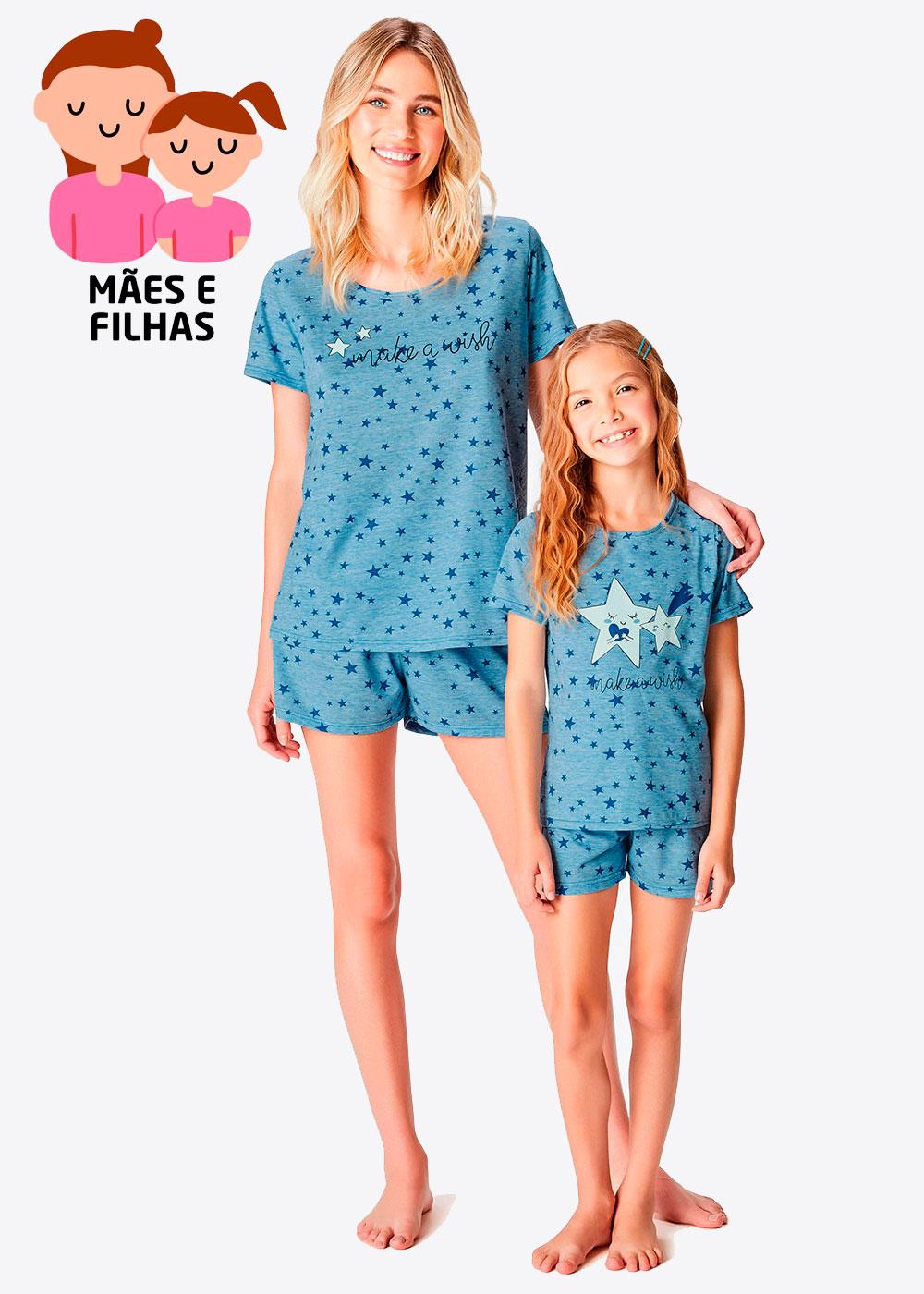 Pijama Curto Mãe e Filha Make a Wish Azul - Malwee