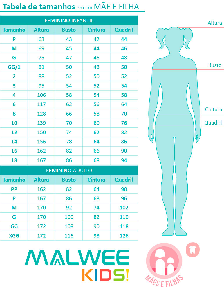 Pijama Curto Mãe e Filha Make a Wish Azul - Malwee: Tabela de medidas