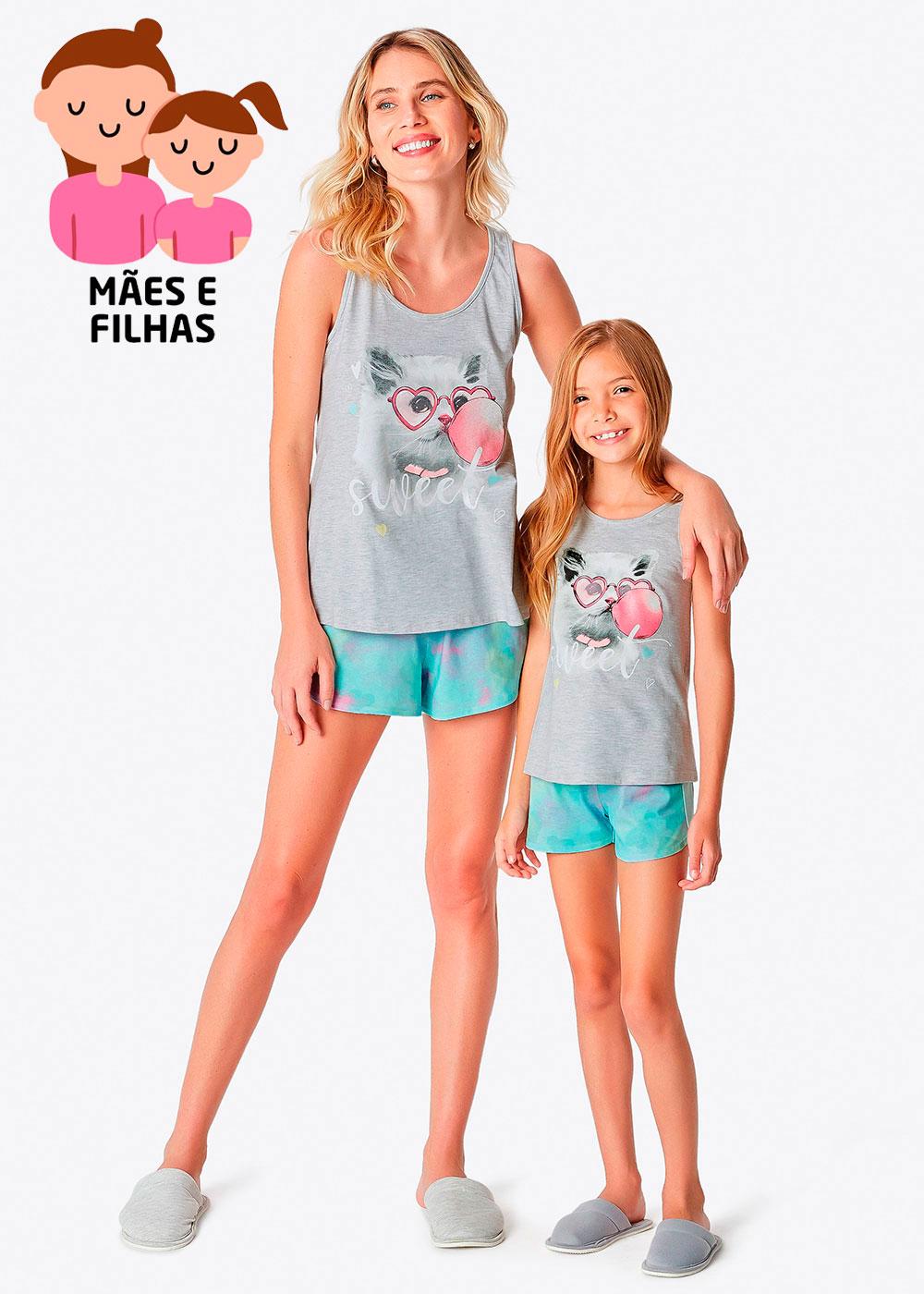 Pijama Curto Mãe e Filha Sweet Cinza - Malwee