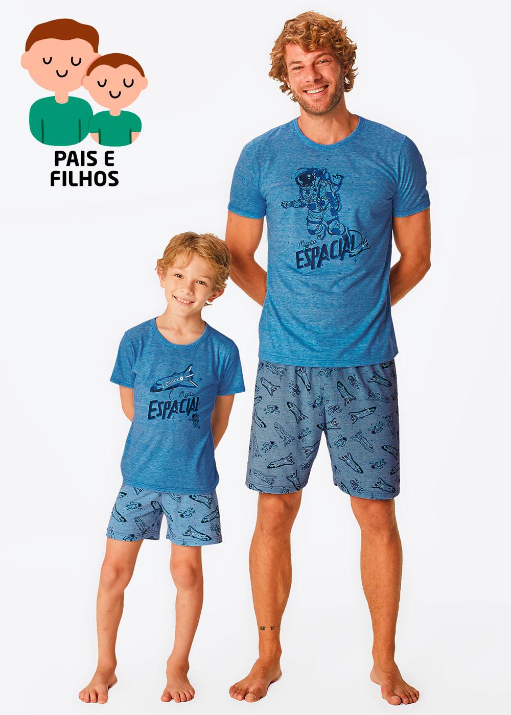 Pijama Curto Pai e Filho Espacial Azul - Malwee