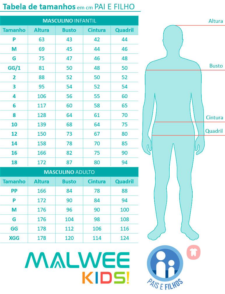 Pijama Curto Pai e Filho Espacial Azul - Malwee: Tabela de medidas