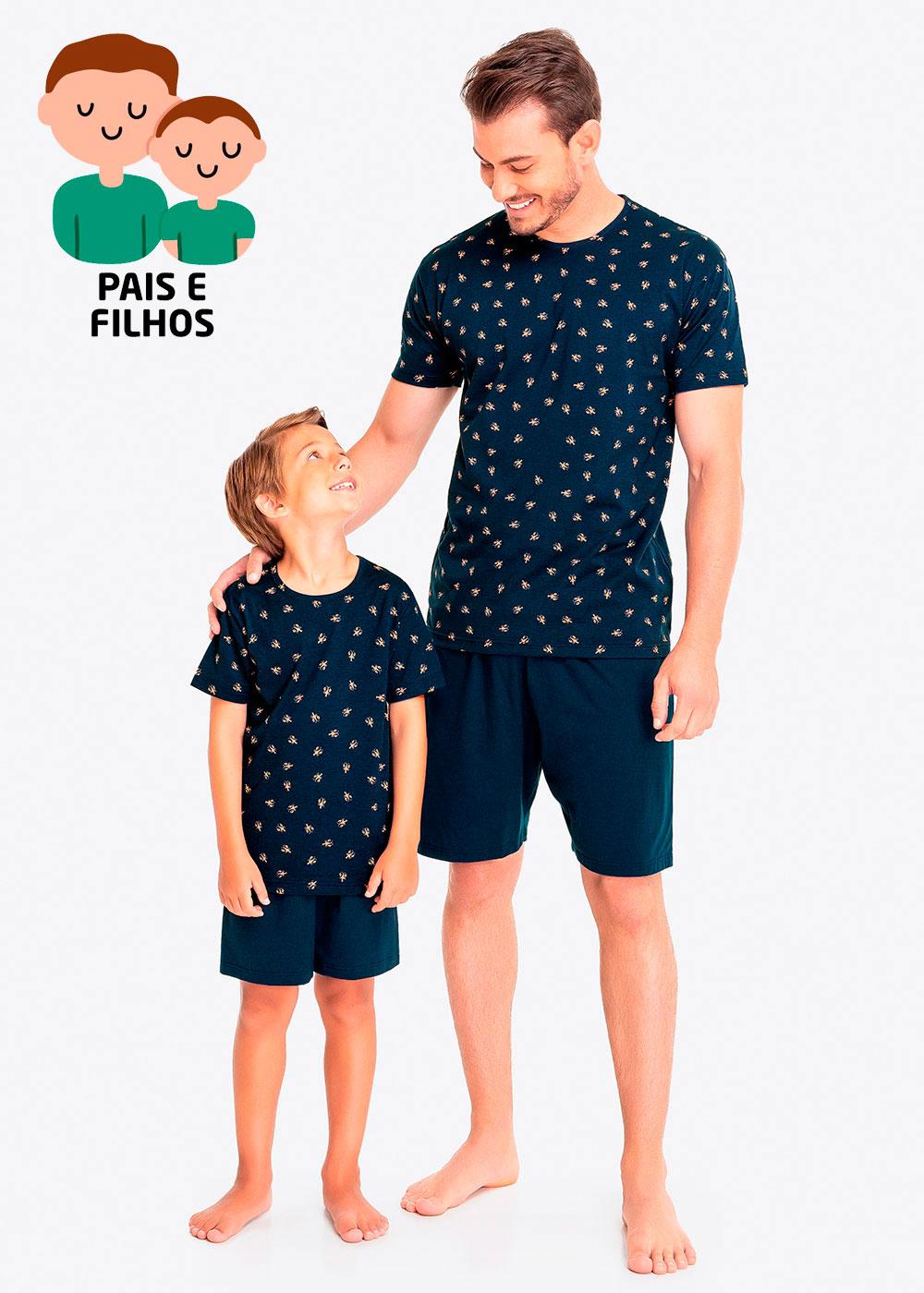 Pijama Curto Pai e Filho Lagosta Azul - Malwee