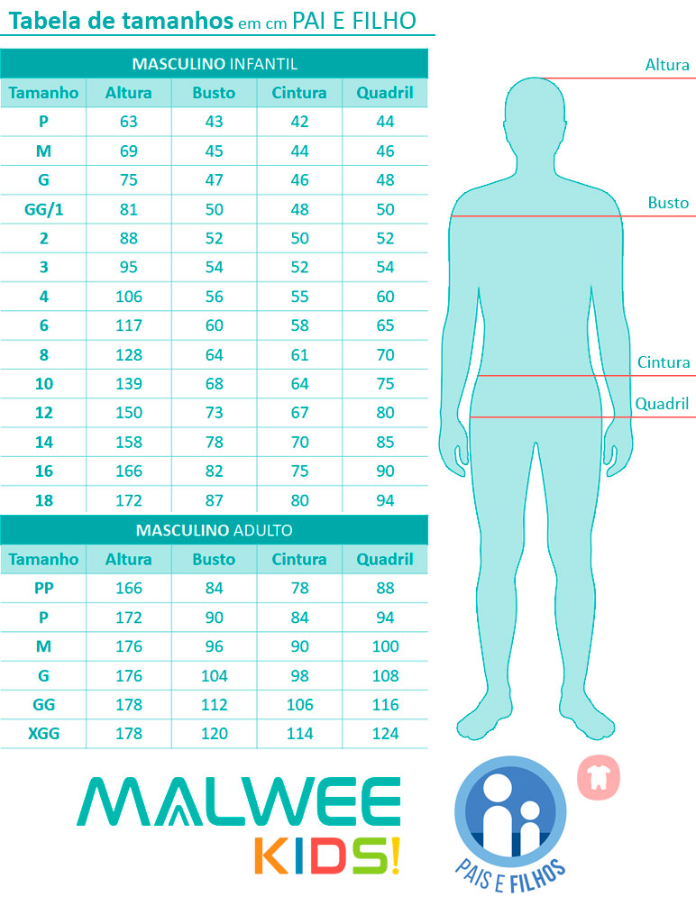 Pijama Curto Pai e Filho Lagosta Azul - Malwee: Tabela de medidas