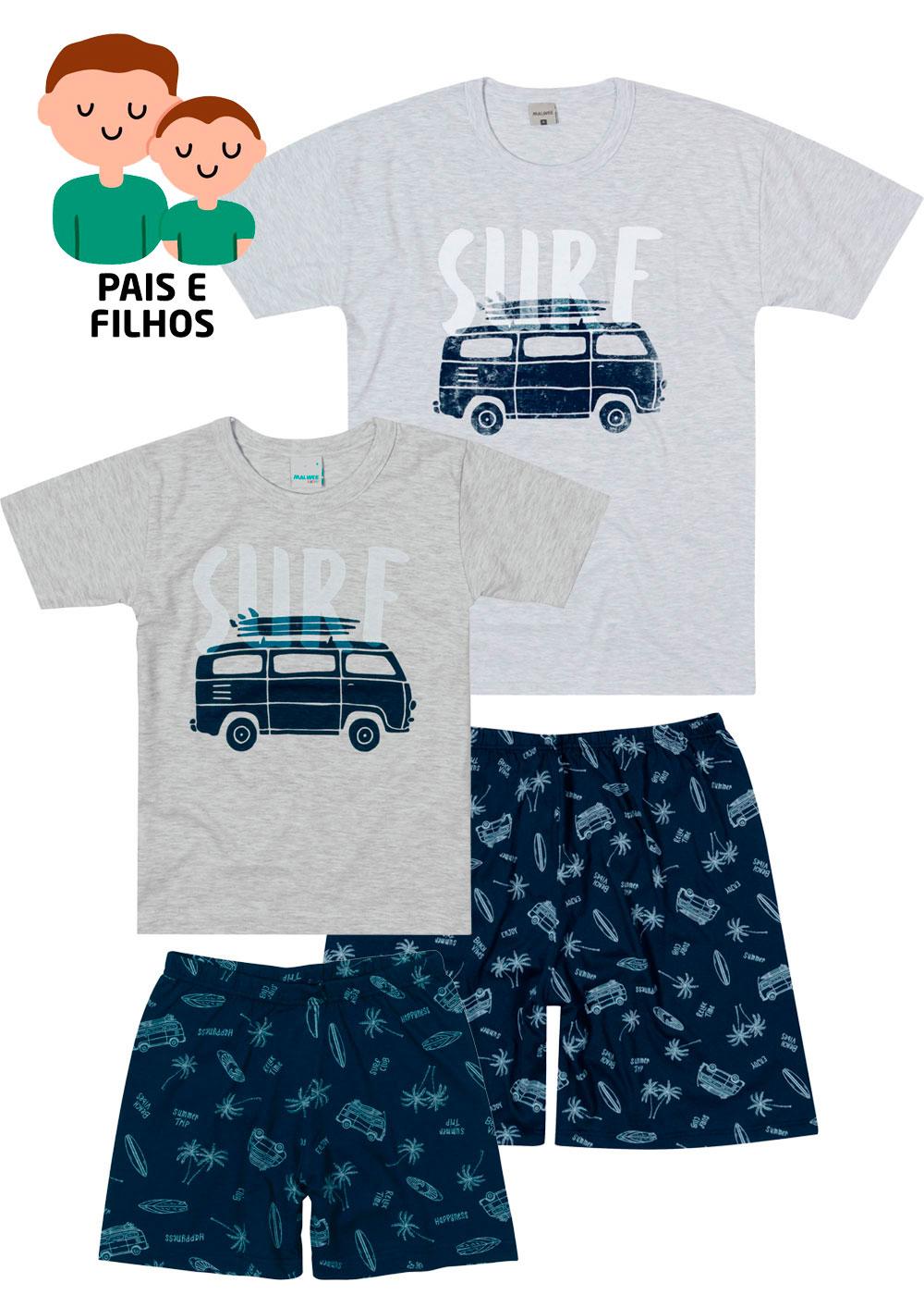 Pijama Curto Pai e Filho Surf Cinza - Malwee