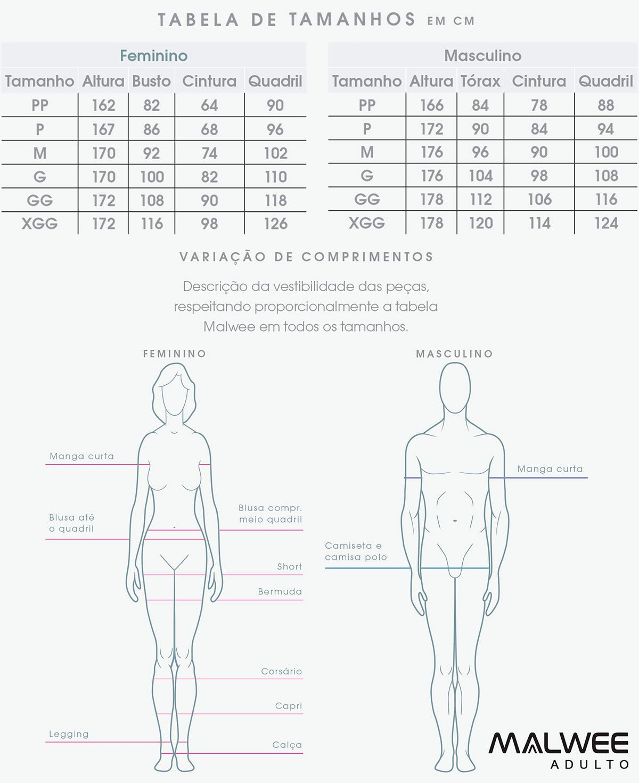 Pijama Feminino Adulto Azul Coração Malwee: Tabela de medidas