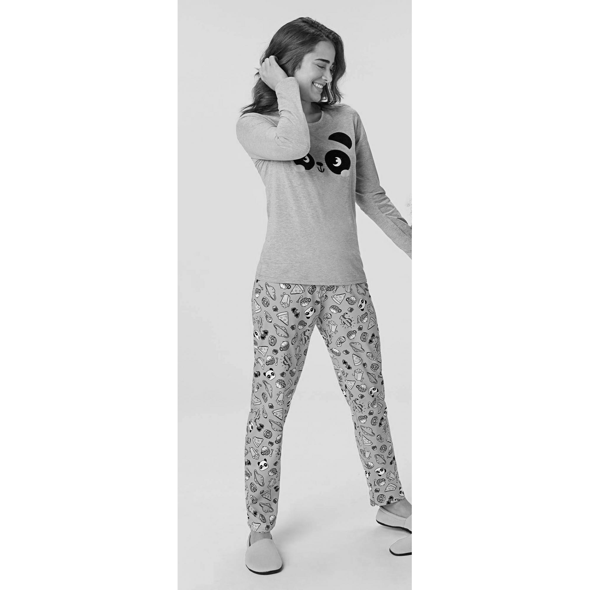 Pijama Feminino Adulto Rosa Estampado Inverno Malwee