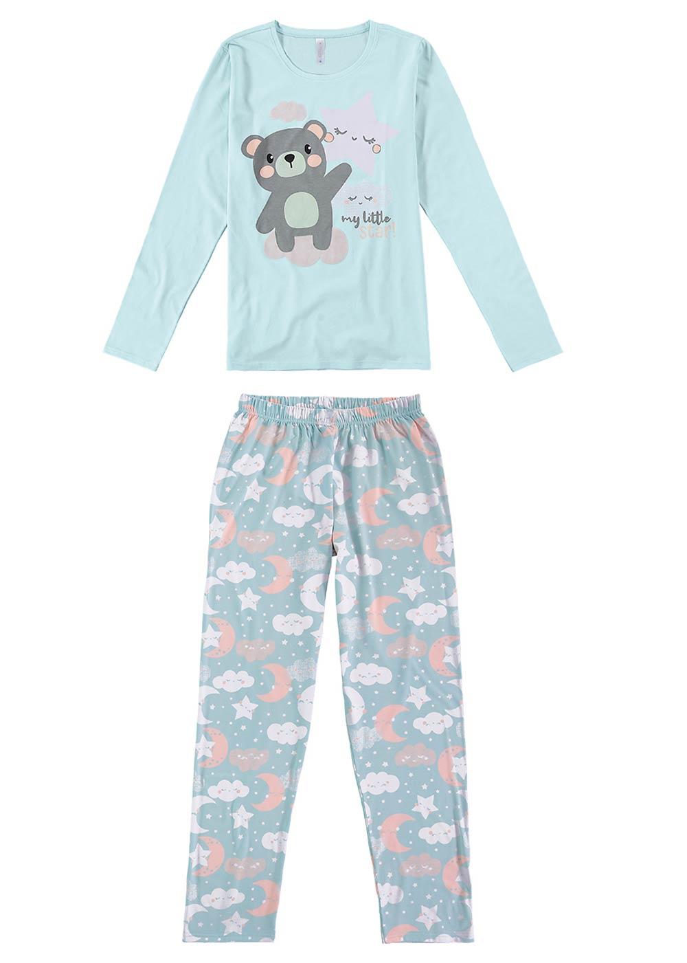 Pijama Feminino Adulto Azul Estampado Inverno Malwee