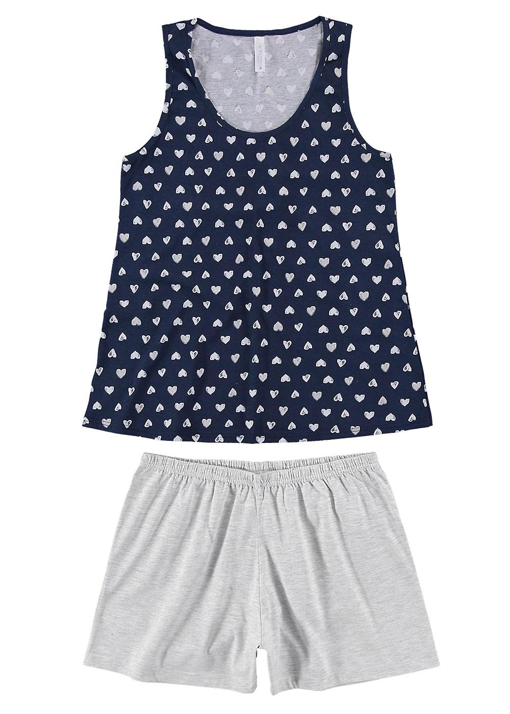 Pijama Feminino Adulto Azul Coração Malwee