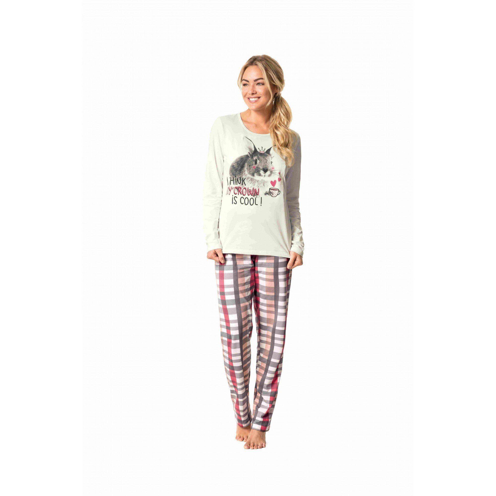 Pijama ADULTO Feminino Inverno OffWhite Coelho Malwee