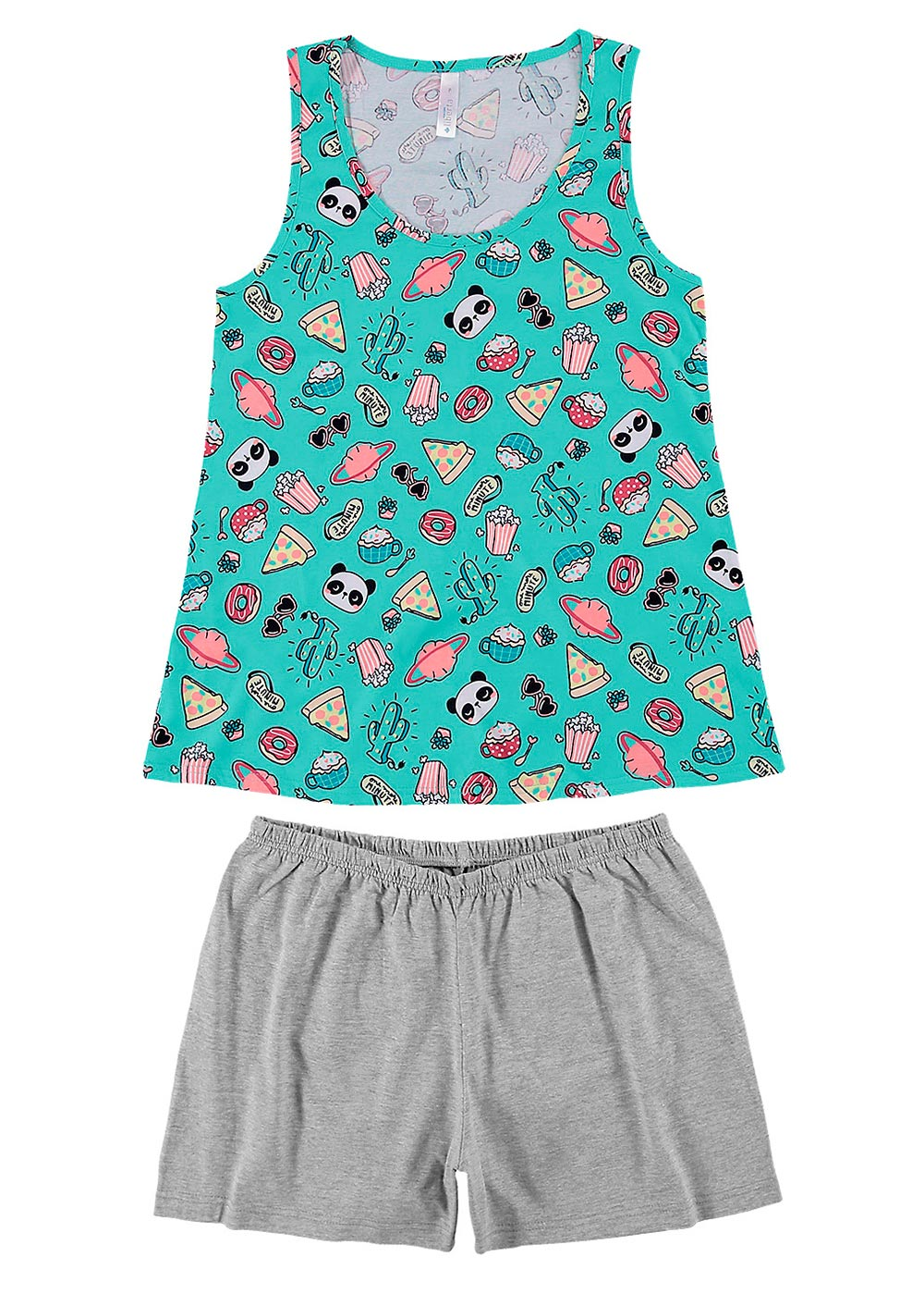 Pijama Feminino ADULTO Mãe e Filha Verde Malwee