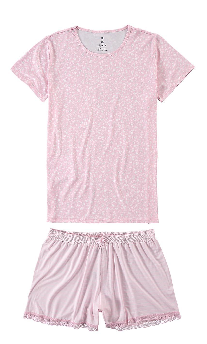 Pijama Feminino ADULTO Rosa Listras - Malwee