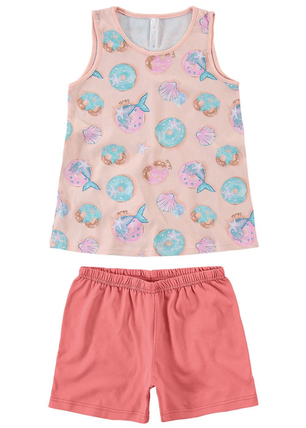 Pijama Feminino Mãe e Filha Short e Regata Rosa Estampa Donuts - Malwee