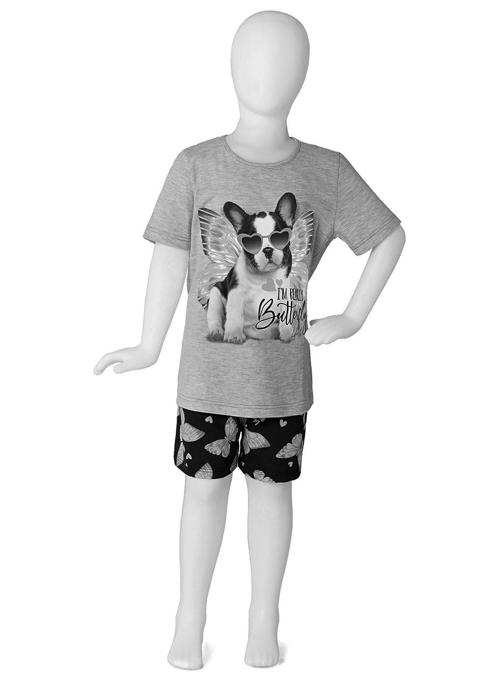 Pijama Feminino Mãe e Filha Short e Camiseta Rosa Estampa Cachorro - Malwee