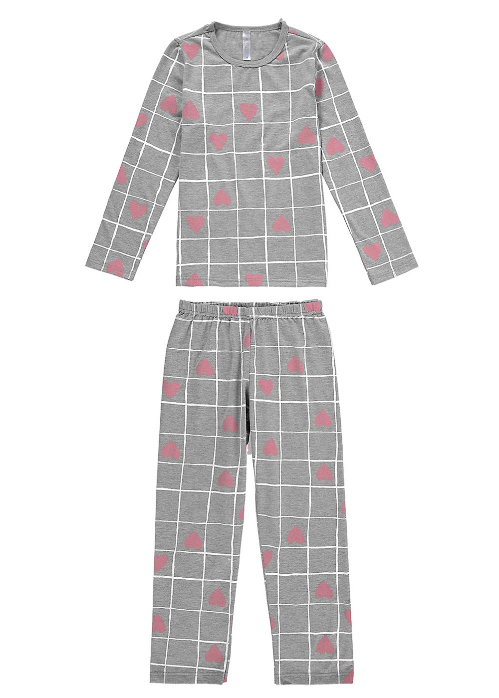 Pijama Infantil Feminino Inverno Cinza Heart Malwee