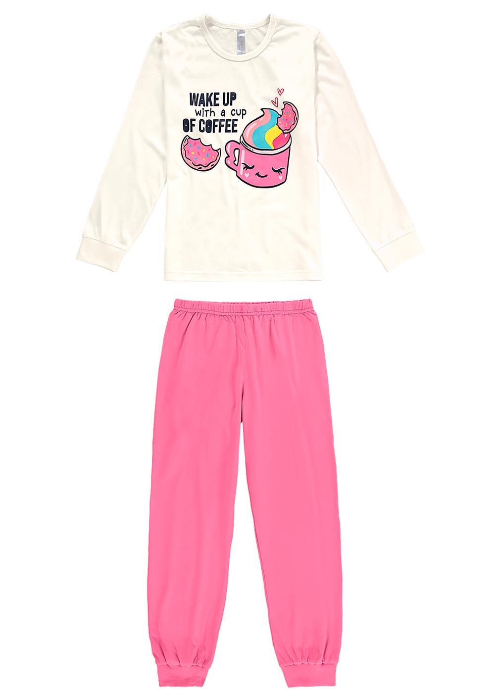 Pijama Infantil Feminino Inverno Branco Coffee Malwee