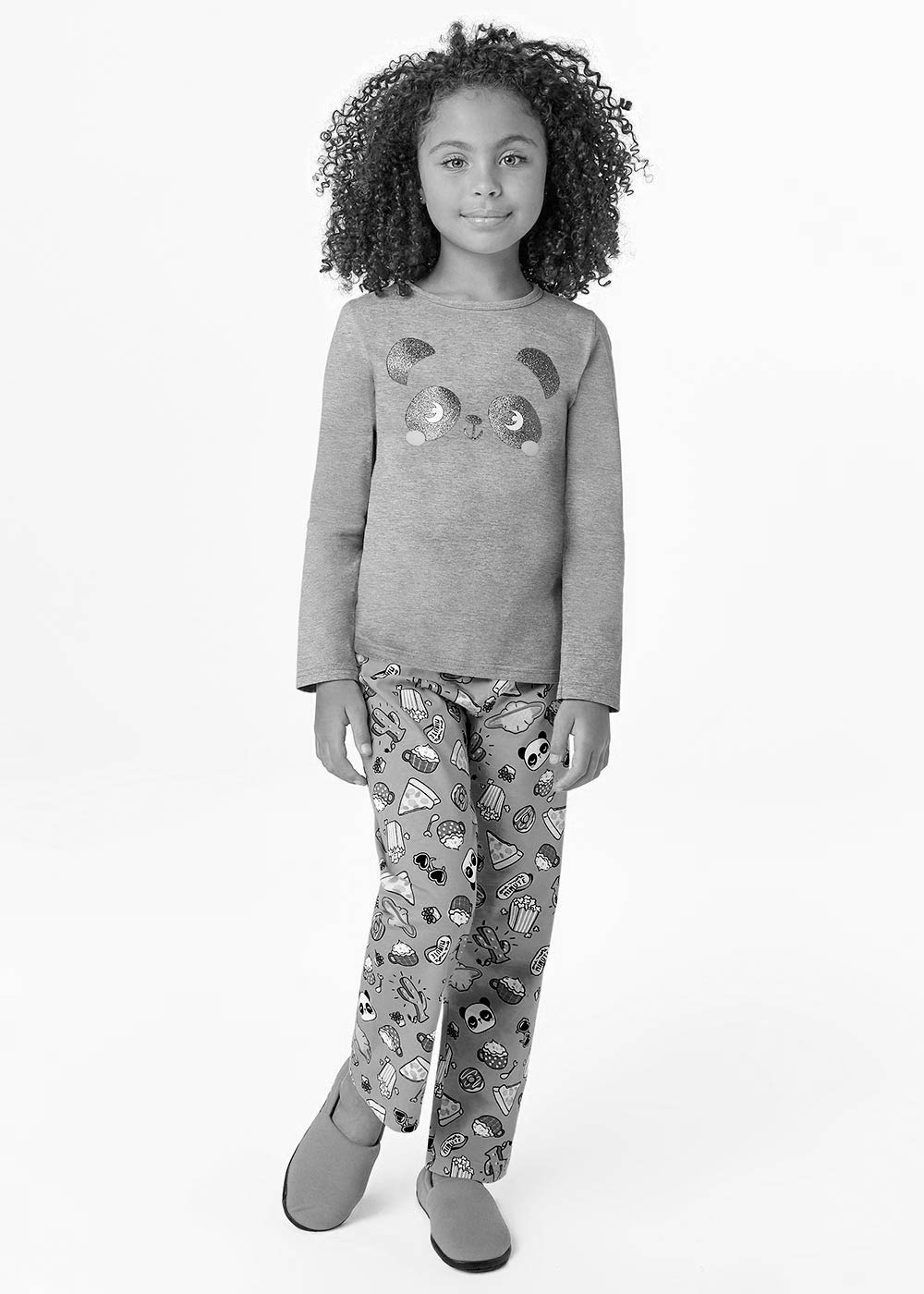 Pijama Infantil Inverno Feminino Cerejinha Cinza Mãe e Filha - Malwee