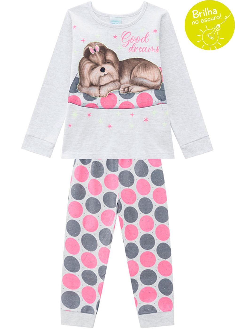 Pijama Infantil Feminino Estampado Cinza Brilha no Escuro Inverno Kyly