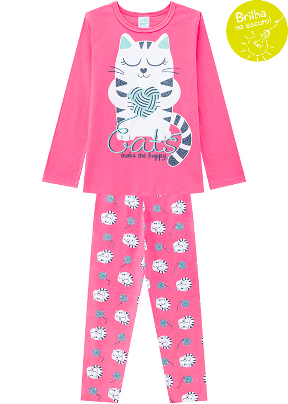 Pijama Infantil Feminino Inverno Brilha no Escuro Cats Rosa Kyly