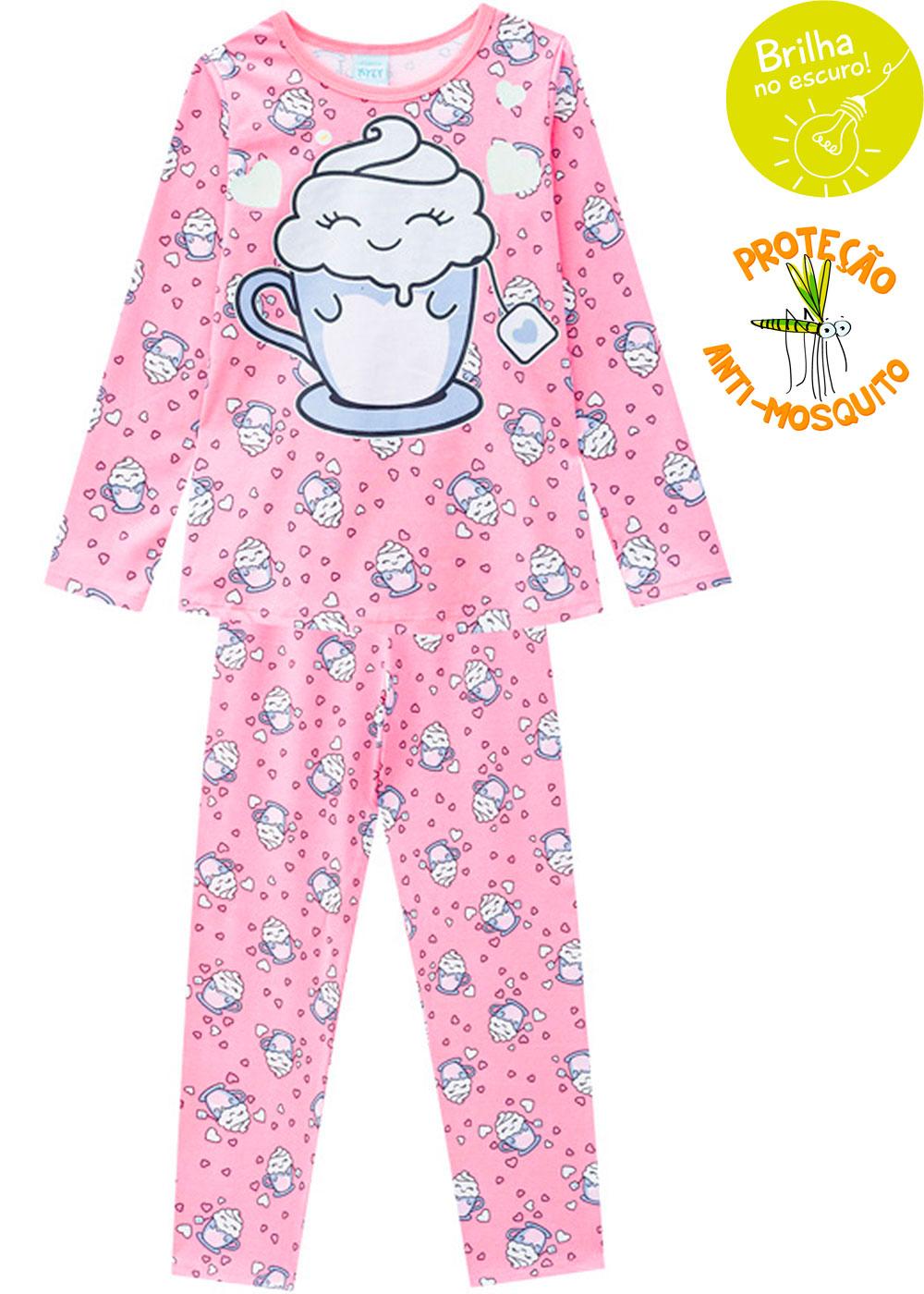 Pijama Infantil Feminino Rosa do Inverno Brilha no Escuro - Kyly