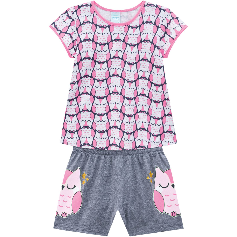 Pijama Infantil Feminino Coruja Cinza Mescla - Kyly