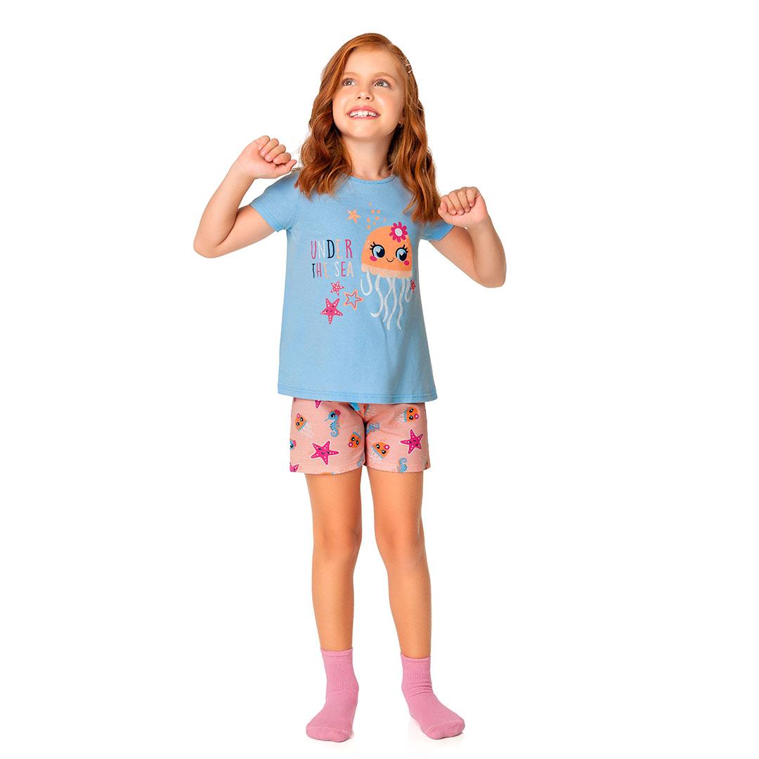 Pijama Infantil Feminino Curto Azul Under The Sea - Malwee