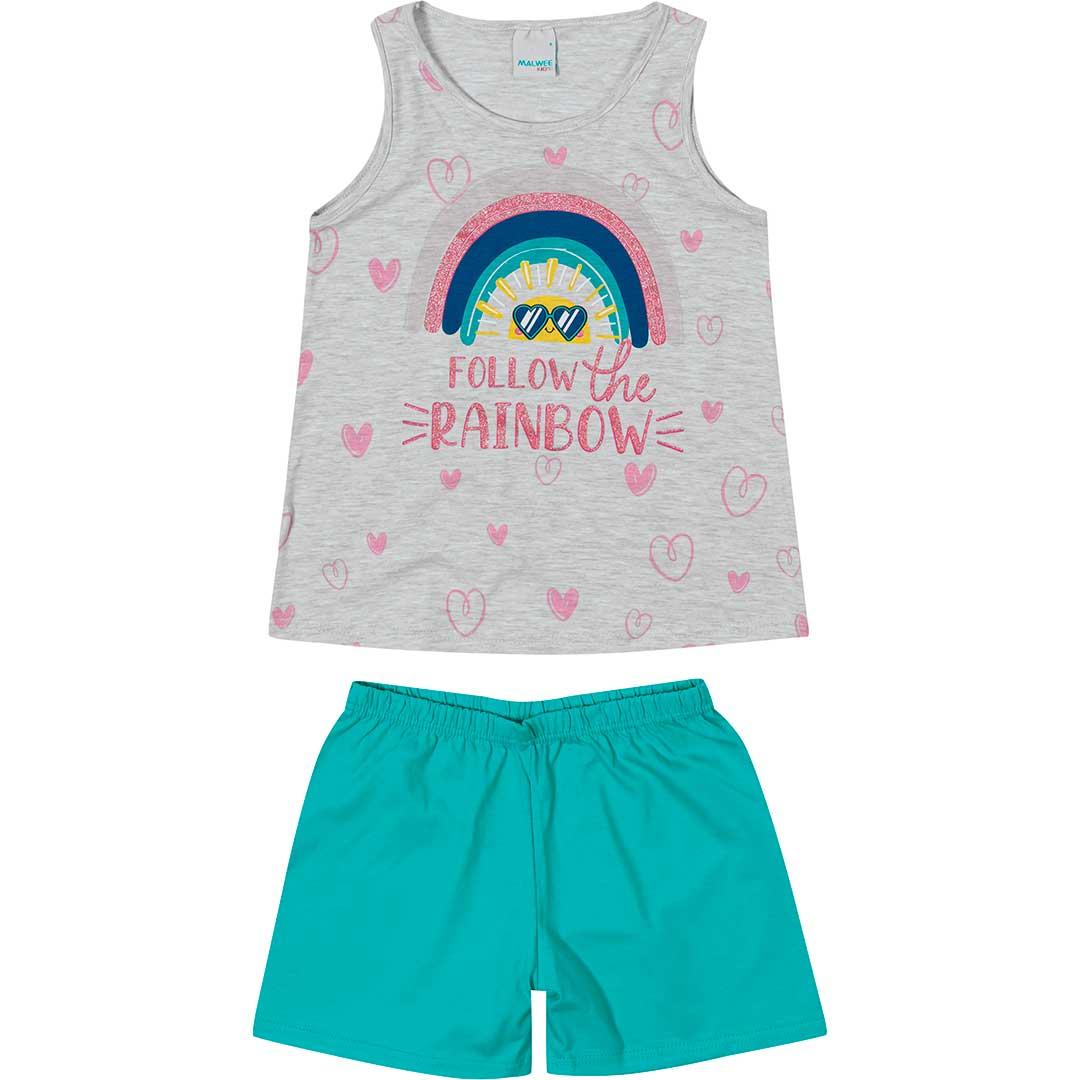 Pijama Infantil Feminino Curto Cinza Rainbow - Malwee