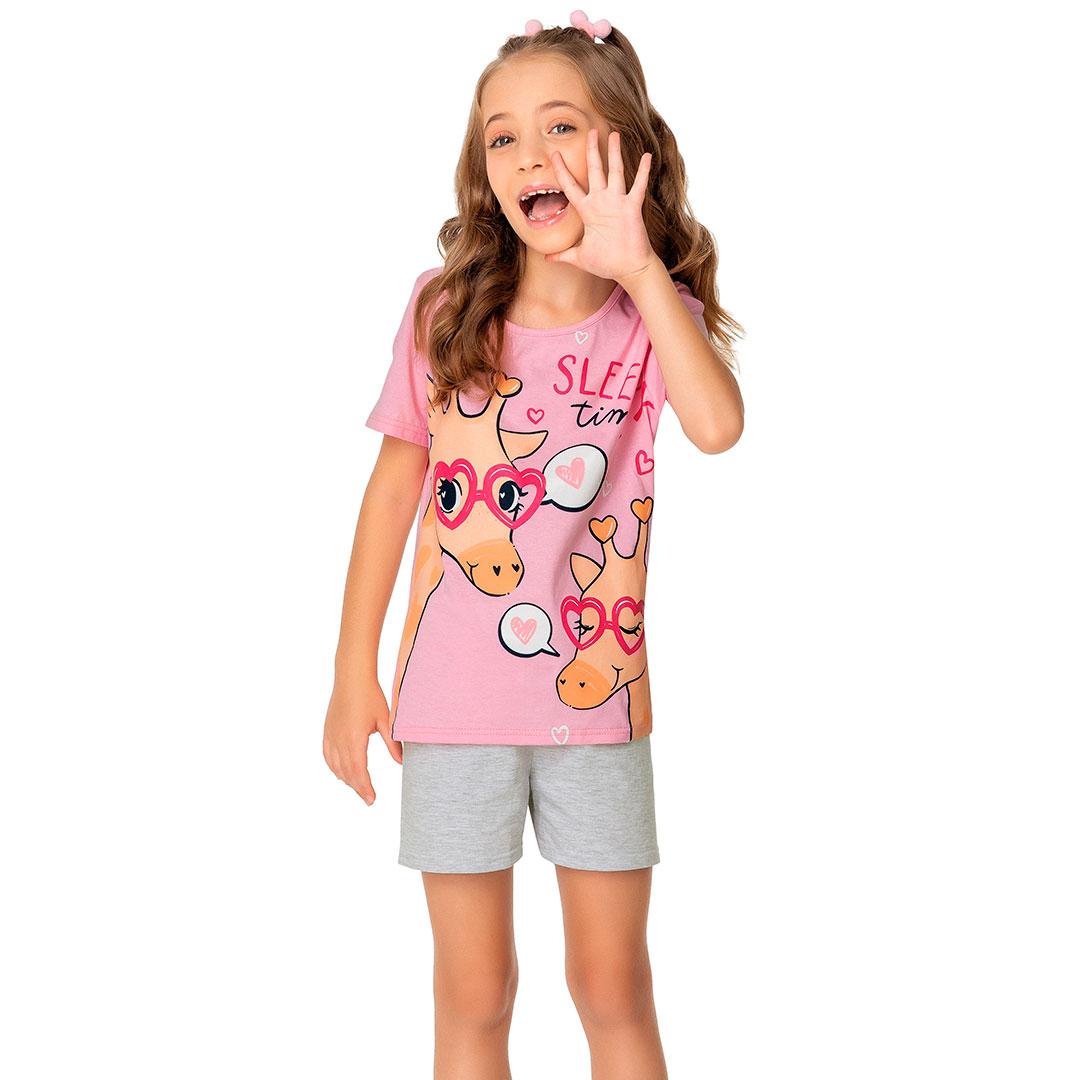 Pijama Infantil Feminino Curto Rosa Sleep Time - Malwee