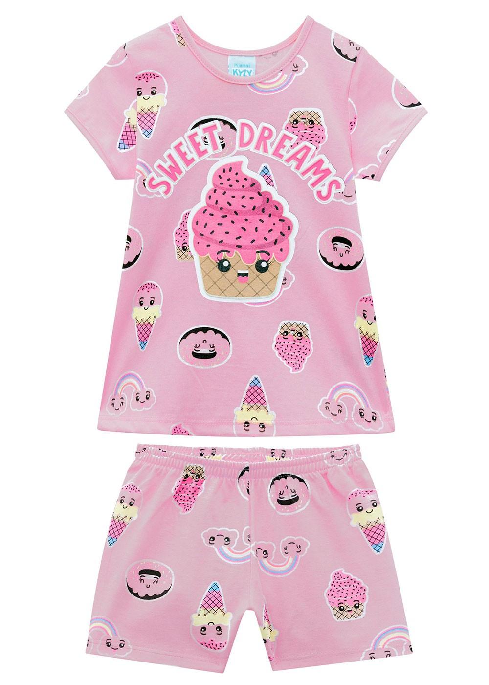 Pijama Infantil Feminino Dream Rosa Melão - Kyly