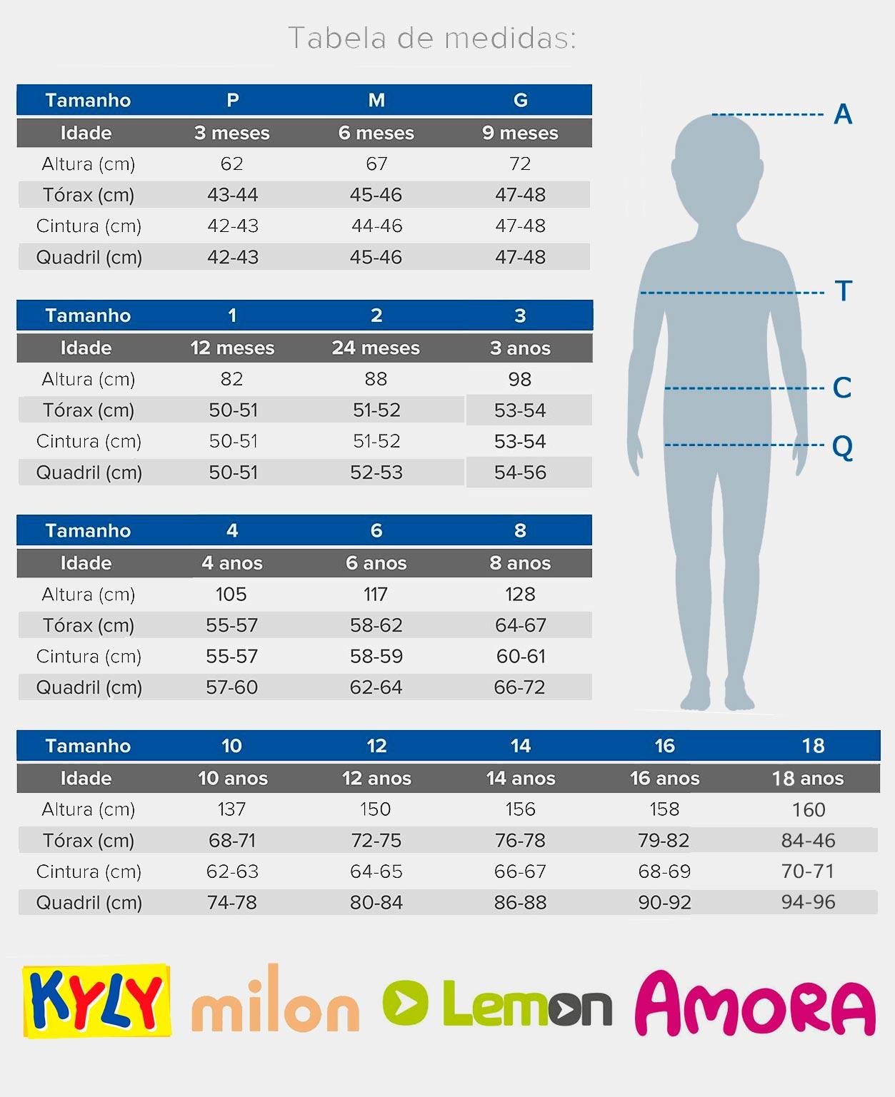 Pijama Infantil Feminino Verão Azul Animals Kyly: Tabela de medidas