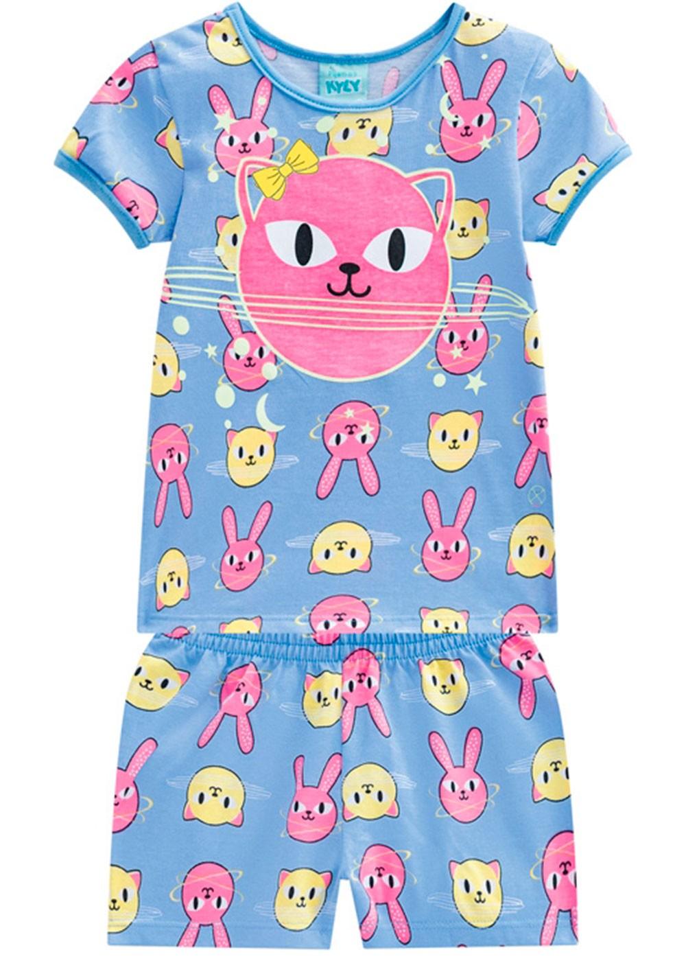 Pijama Infantil Feminino Verão Azul Animals Kyly