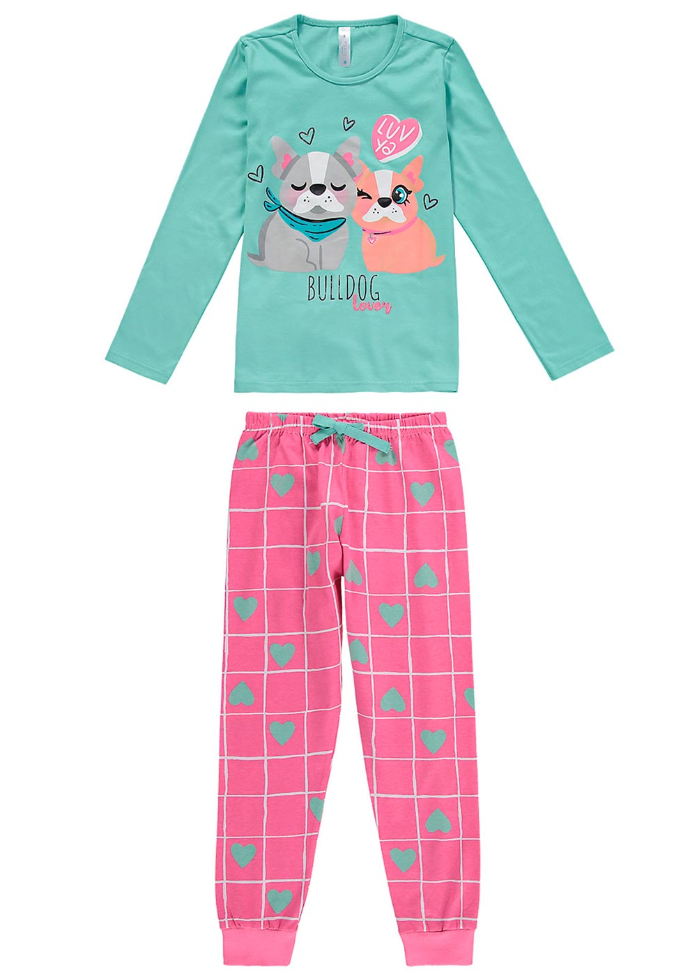 Pijama Infantil Feminino Inverno Azul Bulldog Lover - Malwee