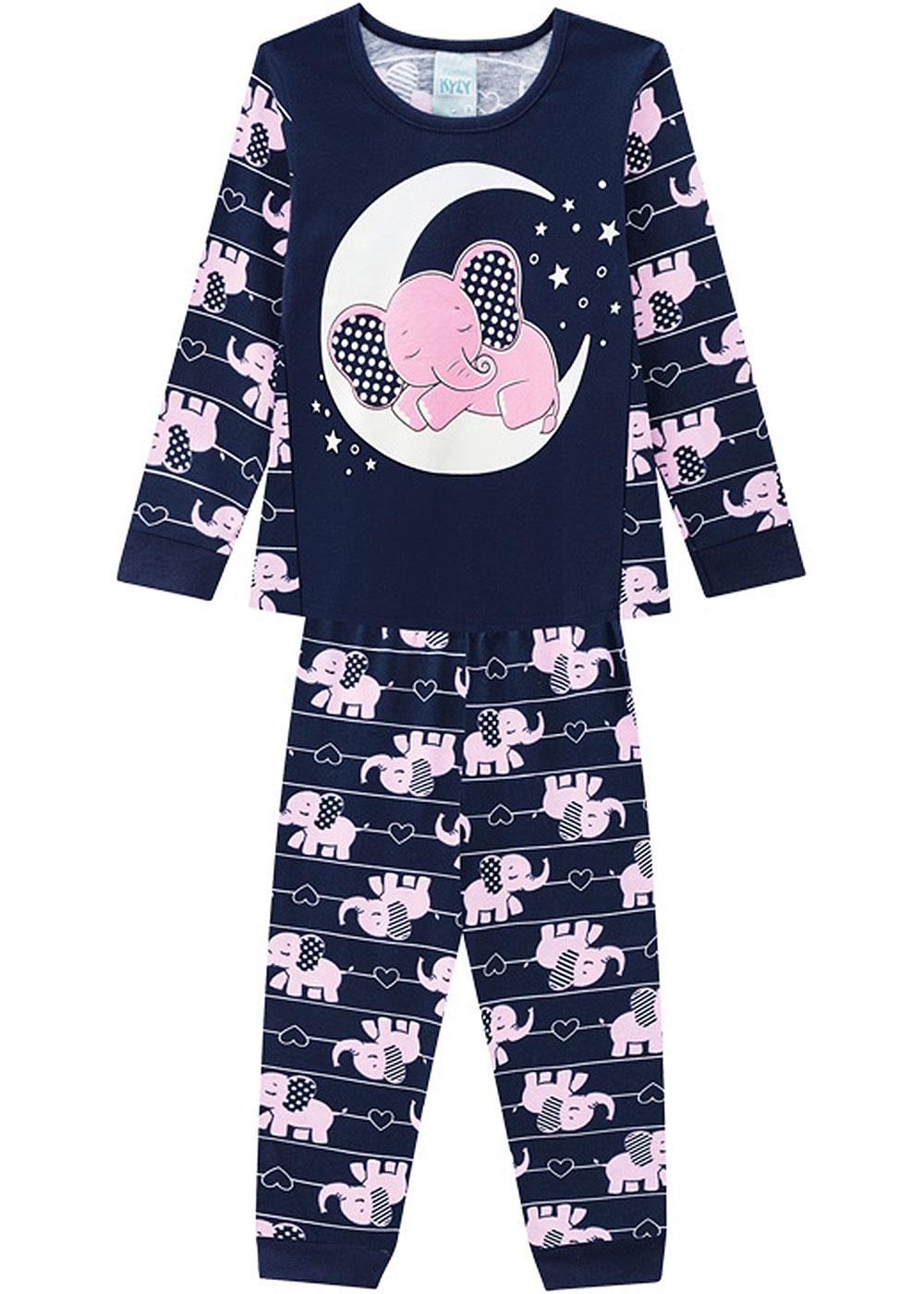 Pijama Infantil Feminino Inverno Azul Elefante Kyly