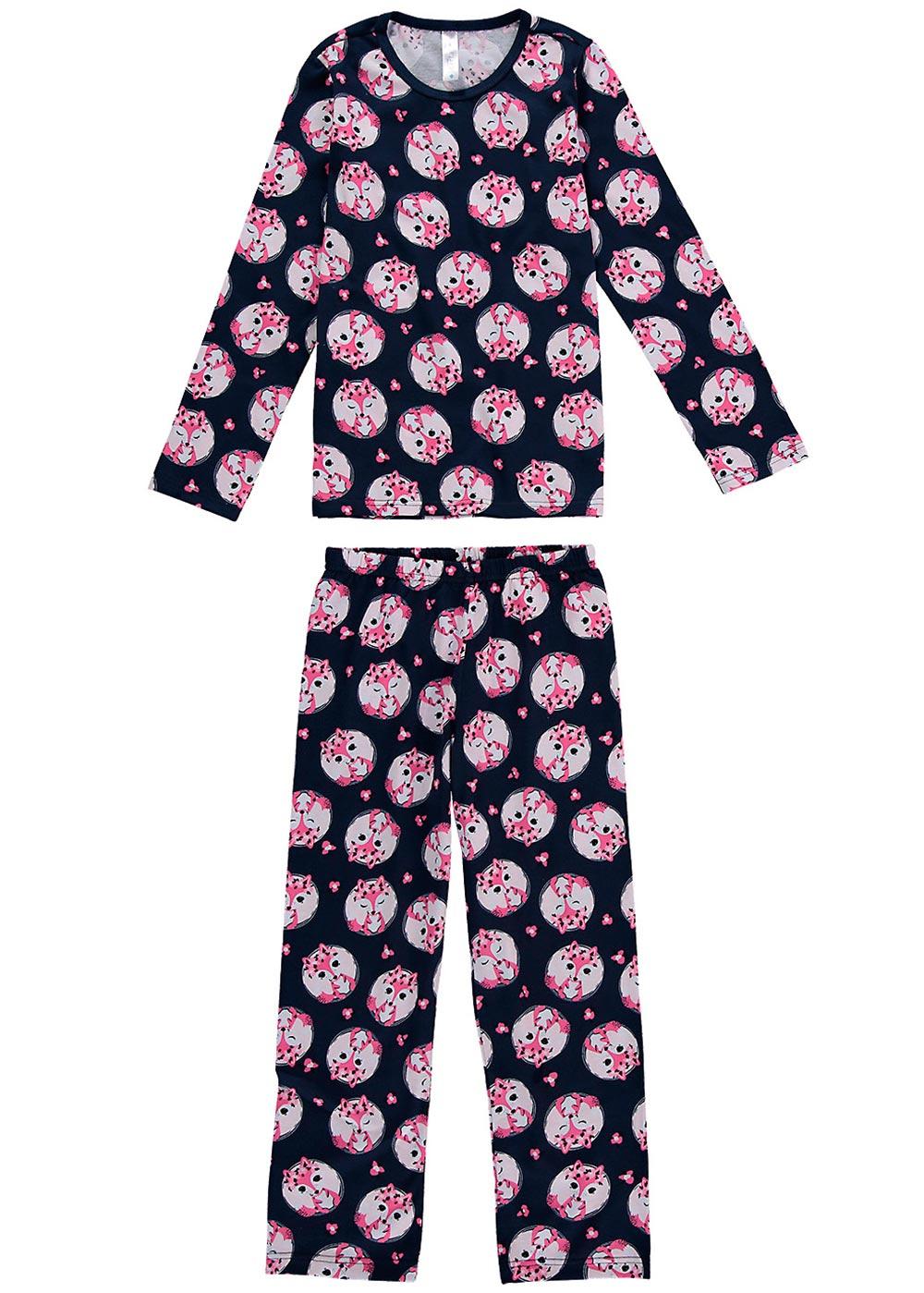 Pijama Infantil Feminino Inverno Azul Fox - Malwee